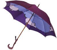 【両面ほぐし織】猫ねこモンブランヤマグチ婦人傘パープル〜その愛らしさに虜になる雨の日の傑作