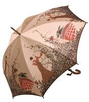 【モンブランヤマグチほぐし織り】最高級婦人長傘舞姫(フラワーガール)ハーヴェスト・ベージュ