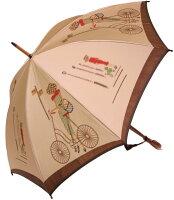 【モンブランヤマグチほぐし織り】最高級婦人長傘巴里の自転車ベージュ・コンセール