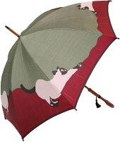 ◆猫(グリーン/ワイン)モンブランヤマグチ婦人雨傘・長傘