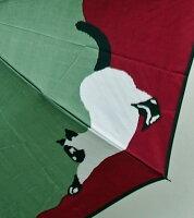 【猫(グリーンワイン)】モンブランヤマグチほぐし織り(二段折畳傘)