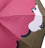 【猫(ピンクカーキ)】モンブランヤマグチほぐし織り(二段折畳傘)