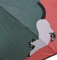 【猫(グリーンピンク)】モンブランヤマグチほぐし織り(二段折畳傘)