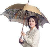★【両面ほぐし織】モンブラン婦人雨傘・長傘『伊太利亜の駅』旅情と郷愁が響きあう傘