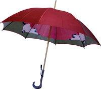 【両面ほぐし織】猫ねこモンブランヤマグチ婦人傘ダークレッド〜その愛らしさに虜になる雨の日の傑作