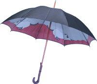 【両面ほぐし織】猫ねこモンブランヤマグチ婦人傘マイルドブラック〜その愛らしさに虜になる雨の日の傑作