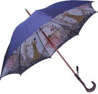 ★【両面ほぐし織】モンブラン婦人雨傘・長傘『舞姫』ネイビー〜比類無き浪漫薫る傘