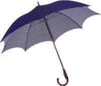 ◆正絹紳士傘(Yoneda31)グレンチェック紺※基本の「籐」ハンドルにて作成