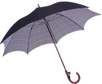 ◆正絹紳士傘(Yoneda31B)グレンチェック黒※基本の「籐」ハンドルにて作成