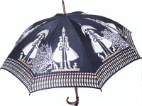 ◆染料の関係で色はブラックよりも薄い色ですガス燈長傘モンブランヤマグチ婦人雨傘