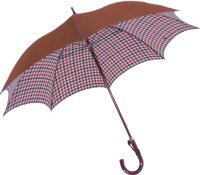 ◆作成期間約二ヶ月◆正絹紳士傘(Yoneda32)トラッドチェック/ライトブラウン※基本の「籐」ハンドルにて作成