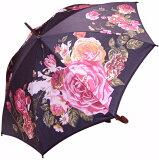 ≪×在庫なし≫ローズ プレシャス モンブランヤマグチ婦人傘エリザベート・ブラック※地色は黒で染めてはおりますが、染料の関係で 真っ黒ではなく もっと淡く柔らかい発色になっております