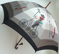 【モンブランヤマグチほぐし織り】最高級婦人長傘巴里の自転車スライトピンク・ロワイヤル