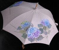◆母の日おすすめ品◆京都西陣手描き日傘(紫陽花・青)