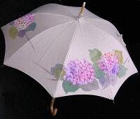 ◆母の日おすすめ品◆京都西陣手描き日傘(紫陽花・ピンク)