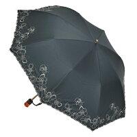 1級遮光花柄刺繍婦人用晴雨兼用折畳み傘日傘雨傘
