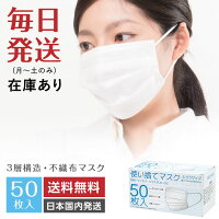 【送料無料】マスク50枚入白ホワイト立体3層構造ノーズワイヤー付き使い捨てマスク不織布マスク大人用男女兼用ふつうサイズ普通サイズ花粉症ウイルス対策ほこり風邪インフルエンザ