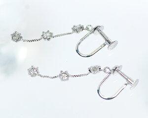 K18WG0.5ctダイヤモンド3ストーンイヤリング