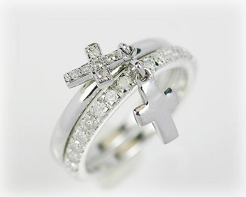 K18WG ダイヤモンドダブルクロスチャームリング:KASHIMA