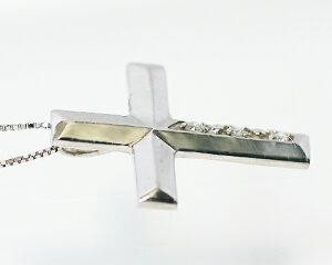 K10WG/PG0.02ctダイヤモンドクロスペンダント