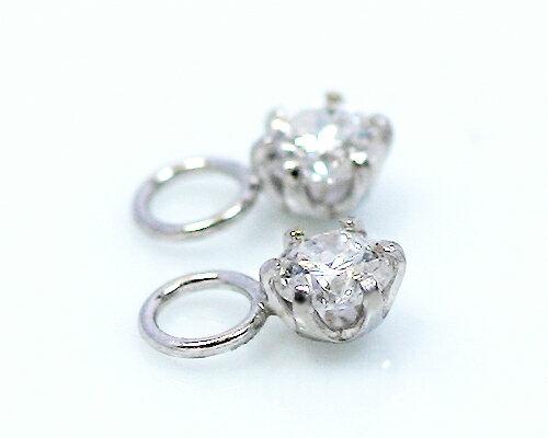 18金 計0.2ct 6爪 天然 ダイヤモンド チャームゴールド ホワイトゴールド ピンクゴールド ダイヤ ピアス 6本爪