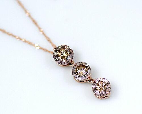 K18/WG/PG 1.0ctブラウンダイヤモンド3ストーンペンダント:KASHIMA