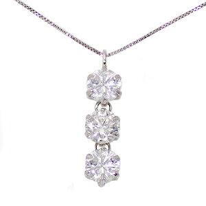 プラチナ1.0ctダイヤモンド3ストーンピアス