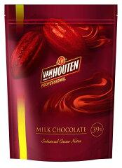 VANHOUTEN・バンホーテン・ヴァンホーテンNEWミルクチョコレート 39% 1kg チャック付き袋 10P...