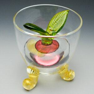 赤カブの重石とゴールドの猫脚がおしゃれな浅漬鉢赤カブの漬物器<ガラス工房CRAFTHOUSE>