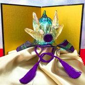 ガラスの兜。五月人形、かぶとを端午の節句のお祝いに!【金屏風セット付き】出世兜(瑠璃×水色)<ガラス作家国広育伸>