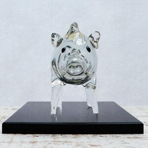 【敷板付き】干支亥<ガラス作家国広育伸>開運・招福の願いを込めた新年の縁起物ガラス製干支置物