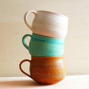 作家 三木尚 櫛引き 線紋マグカップ 緑/白/黄 陶器