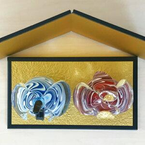 【近日入荷予定】【送料無料】和モダンな趣きと金色の輝きが上品なガラス雛白渦紋雛人形<ガラス作家西本至孝>