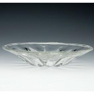 昭和レトロなストレートのモール模様が美しい中皿モール中皿<ガラス工房CRAFTHOUSE>