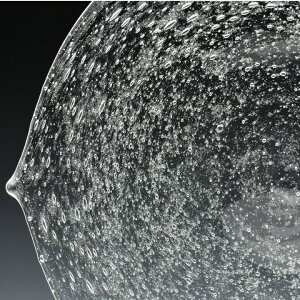 泡模様が美しい木の葉の形のガラスプレート泡皿M<ガラス工房CRAFTHOUSE>