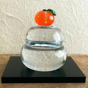 ガラス職人手作り。大きめサイズのガラスの鏡餅届いてすぐに飾れる嬉しい敷き板付き!【敷板付き】鏡餅(クリア)<ガラス工房CRAFTHOUSE>