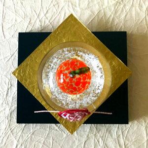 ガラス職人手作り。小さなサイズのガラスの鏡餅届いてすぐに飾れる嬉しい敷き板・水引セット付き!【敷板・水引セット付き】鏡餅(泡金)小<ガラス工房CRAFTHOUSE>