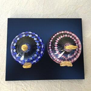 【送料無料】大人ガーリーなツイストリボンが可愛いガラスの雛人形(お雛様)回想<ガラス作家清水柾>