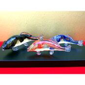 ガラスの鯉を端午の節句のお祝いに!【塗り台付き】鯉昇<ガラス作家清水柾>
