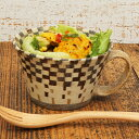 寄木細工のような格子柄カップ練り込み スープカップ(格子) <陶芸家 森野 奈津子>