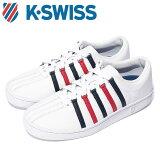 Kスイス ケースイス クラシック 88 メンズ レディース ホワイト ドレスブルー リボンレッド 白 スニーカー レザー テニスシューズ K-SWISS Classic 88 36022482 送料無料