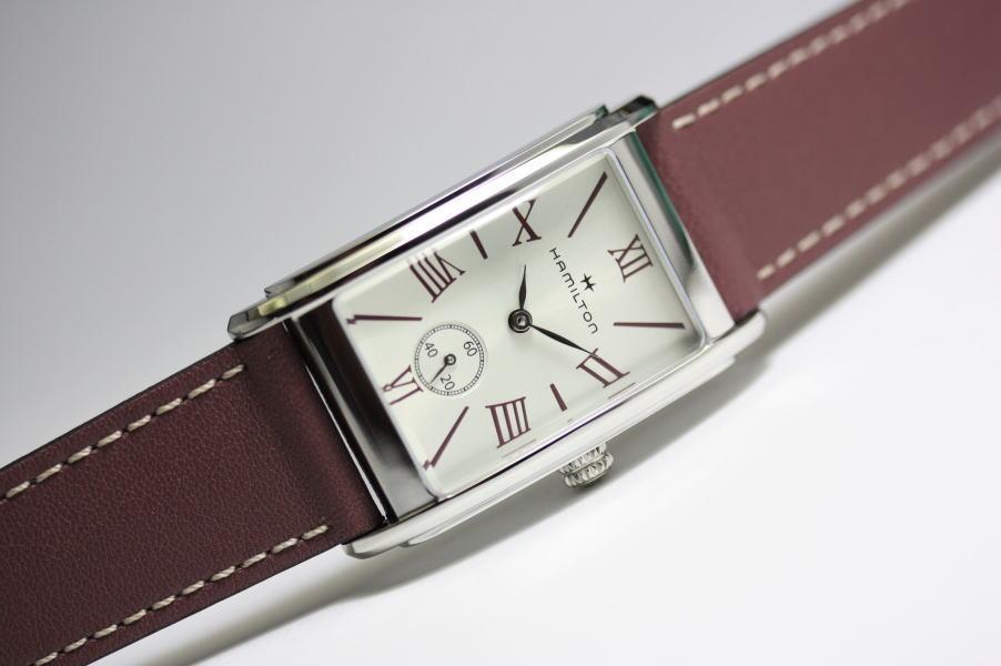 1930年代のアールデコ・デザインの復刻です!HAMILTON【ハミルトン】ARDMORE【アードモア】バーガンディカラー・クォーツ腕時計/正規代理店商品/ボーイズサイズ