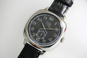 FHBClassicデザインウォッチ/ブラック・スクエア腕時計角型ケース腕時計/ブラックダイアル/送料無料/角形ケース/クッション型ケース/プレゼント