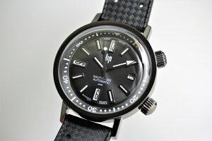 1967年の復刻!フランスのLIP【リップ】NAUTIC-SKI【ノーティックスキー】自動巻き腕時計/200m防水/オールブラック/ブラックアウト