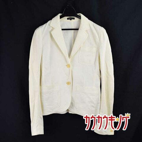 【中古】セオリー theory ジャケット サイズ0 レディース ホワイト 2つボタン 肩幅約37cm、肩から袖丈約66cm、身幅約38cm、総丈約56cm