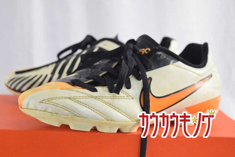 【中古】NIKE(ナイキ) T90 シュート IV HG-B AF ジュニア 21.5cm 472572-480 ホワイト×オレンジ サッカースパイク