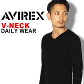 【2枚以上で10%OFFクーポン対象】送料無料 AVIREX アビレックス Vネック ロングスリーブ Tシャツ avirex アヴィレックス