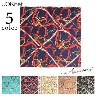 緞面風格鏈模式設計圍巾配件配套圍巾方形的發飾頭巾帶絲帶緞帶大方巾頭巾禮物的袋子