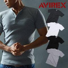 【即納】【ポイント10倍】【送料無料】アビレックス AVIREX ヘンリーネック Tシャツ 半袖 ホワイト メンズ ミリタリーシャツ メンズ カーキ アヴィレックス デイリー 6143504【メール便】【あす楽対応】
