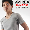 AVIREX アビレックス デイリーリブUネックTシャツ メンズ トップス インナー アンダーウエア 無地 シンプル リブ 下着 紳士 ビジネス ミリタリー